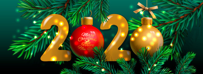 Merry Christmas and Happy New Year 2020 banner, Xmas festive decoration. Horizontal Christmas posters, cards, headers, website. Vector illustration