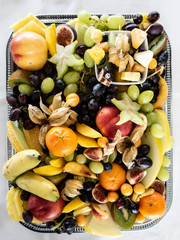 Tropical Fruit on a food tray for snacking at an event