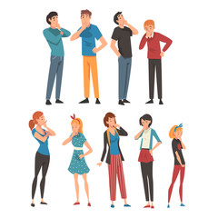 People think about something in different clothes and ages cartoon vector illustration