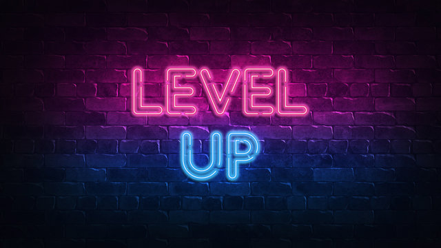 Level Up neon sign. purple and blue glow. neon text. Brick wall lit by neon lamps. Night lighting on the wall. 3d illustration. Trendy Design. light banner, bright advertisement