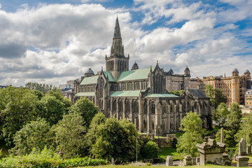 Glasgow Cathedral and Skyline from Glasgow Necropolis Scotland, United Kingdom in summer.