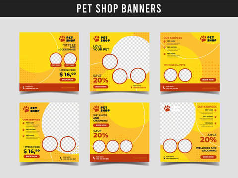 Pet shop square banner template. Promotional banner for social media post, web banner and flyer Vol.4