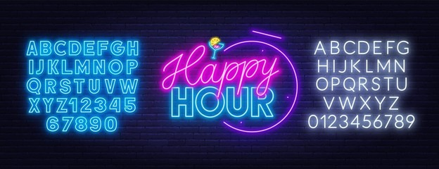 Happy hour neon sign on dark background. Template for design with fonts. Vector illustration.