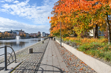 Motala stream in Norrkoping during fall. Norrkoping is a historic industrial town in Sweden.