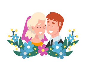 Portrait of bride and groom standing behind a wreath cartoon vector illustration