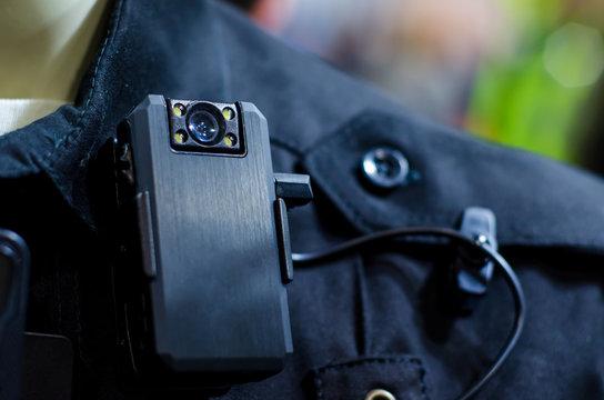 Close-up of police body camera