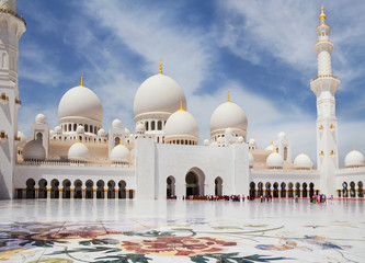 United Arab Emirates. abu dhabi. White mosque. It is one of the largest mosques in the world located in Abu Dhabi, the capital of the UAE. The majestic white mosque is named after Sheikh Zayed, the c