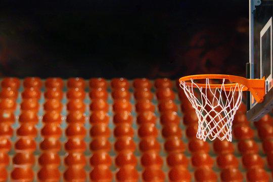 The basketbal hoop in the gym