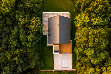 Aerial view of modern house Wall mural