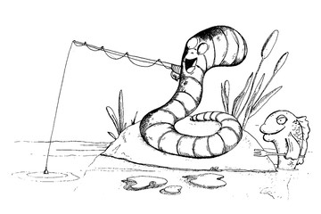 Worm is fishing and fish want to eat worm. Funny cartoon characters. Vector illustration