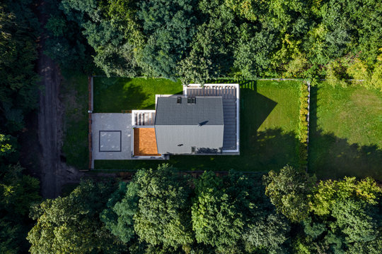 House with garden, aerial view