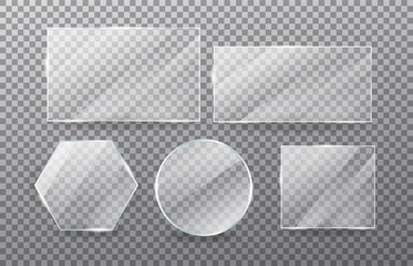 Realistic transparent glass window set. Collection of Glass plates on transparent background. Acrylic and glass texture with glares and light.  Rectangle frame. Vector.