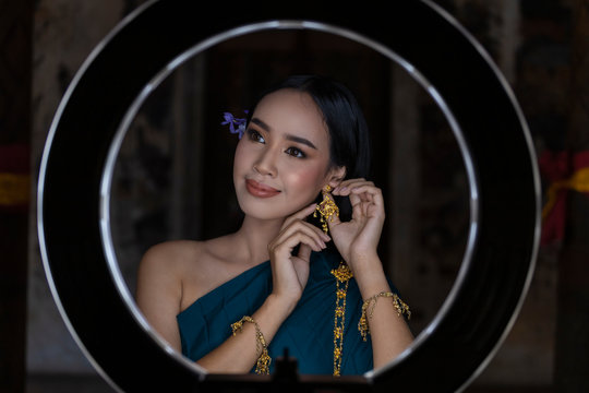 Asian women Thailand is dress traditional thai culture. LED Ring Make up woman is beatiful.