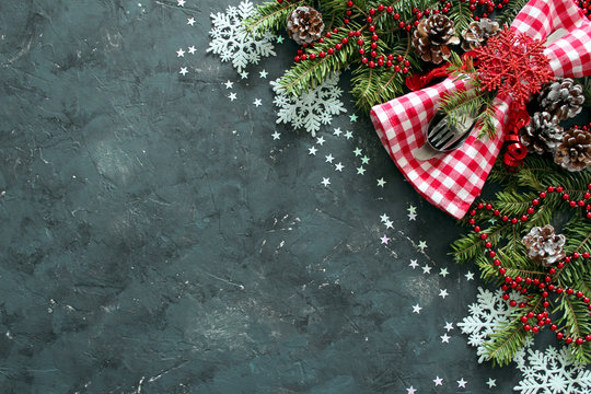 Christmas background. Holidays background. Top view with copy space.