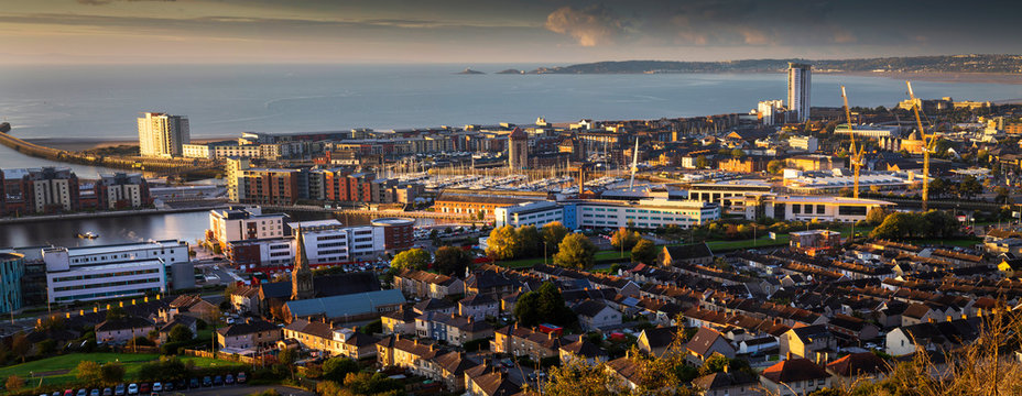 A view of Swansea city centre and the Bay area from the docks to Mumbles in South Wales, UK