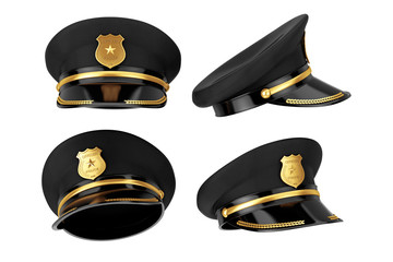 Police Officer Hat with Golden Badge. 3d Rendering