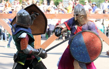 two Medieval knights in battle