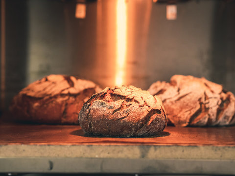 wholemeal rye loaves in an old oven