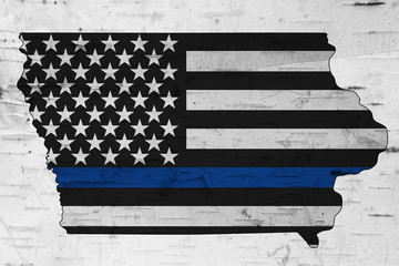 American thin blue line flag on map of Iowa