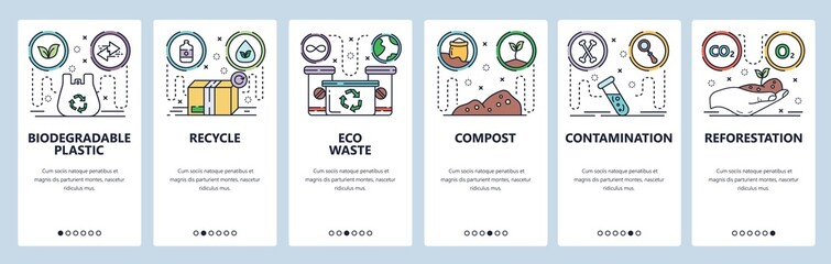 Mobile app onboarding screens. Eco plastic bag, recycle waste, contamination, environment, reforestation. Vector banner template for website and mobile development. Web site design flat illustration