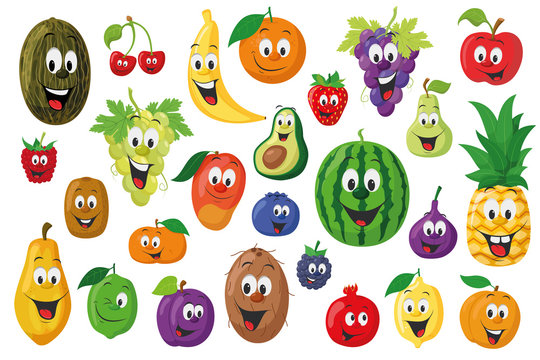 Fruits Characters Collection: Set of 26 different fruits in cartoon style Vector illustration