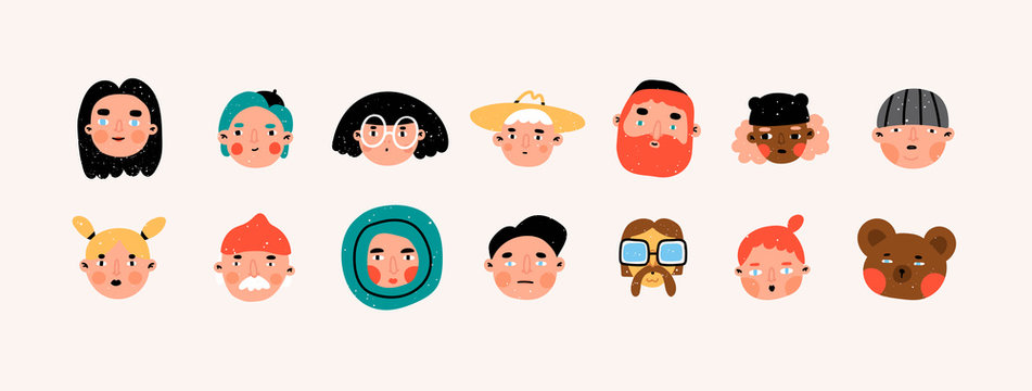 Various people and bear. Faces and heads. Characters, avatars. Different icons and logos. Cute hand drawn trendy vector illustrations. Cartoon style. Flat design. Naive art. All elements are isolated