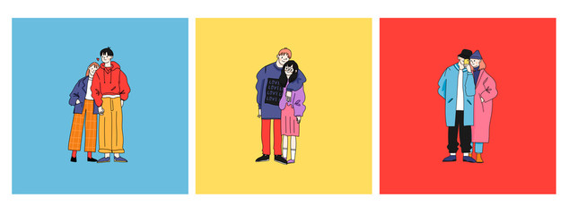 Street fashion look. Couples in love dressed in stylish trendy oversized clothing. Boys and girls. Korean japanese asian. Comic cartoon style. Manga anime. Hand drawn vector set of three illustrations
