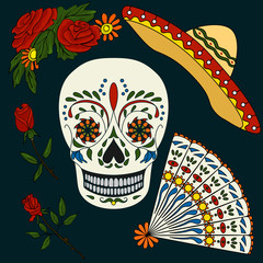 Set of elements for design on a theme - Day of the Dead. Stock Photo - decorated with skull, sombrero, fan, red rose on a dark background.