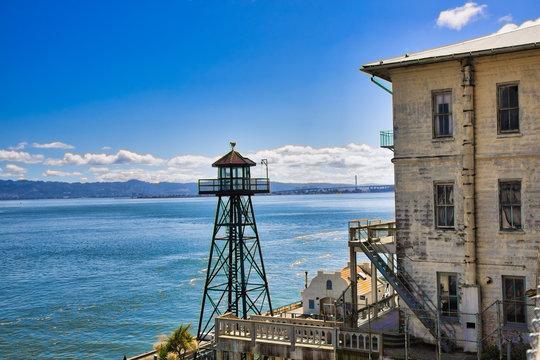 Tower and building at Alcatraz overlooking San Francisco Bay