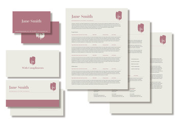 Resume Layout Set with Mauve Accents