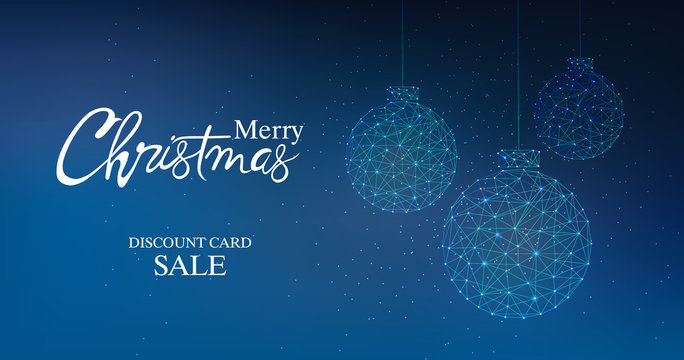 Merry christmas discount card sale banner with innovative style bauble. Connected dots. Blue background