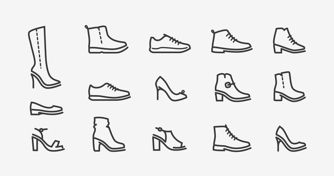 Shoes icon set. Fashion, shoeshop concept. Vector illustration