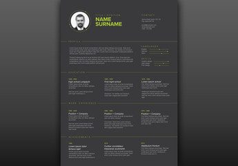 Resume Layout with Green Elements and Dark Background
