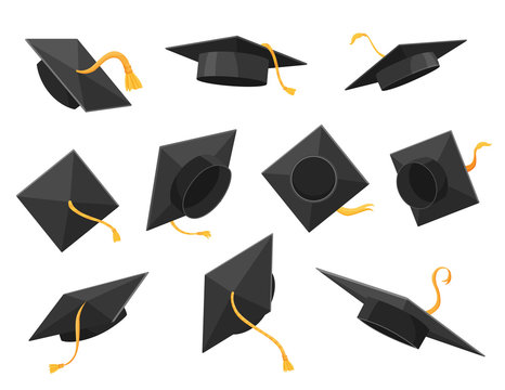 Graduation cap or hat vector illustration in the flat style. Academic caps set. Graduation cap isolated on the background.
