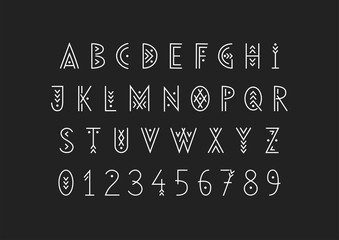 Fototapeta Linear geometric uppercase font decorated with thin lines. obraz