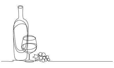 Wine glasses, a bottle of wine and grapes. Still life. Sketch. Draw a continuous line. Decor