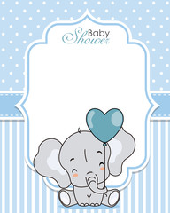 Baby shower invitation. Cute elephant with balloon. Space for text