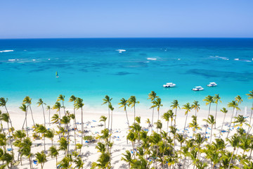 Fototapete - Aerial view from drone on tropical coastline with coconut palm trees, sunbeds and boats floating in caribbean sea