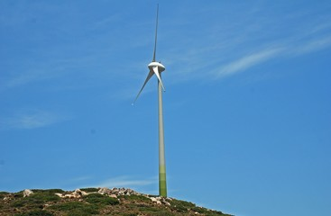 A wind turbine on the Greek island of Tilos. The island aims to become self sufficient in power using wind and solar technology.
