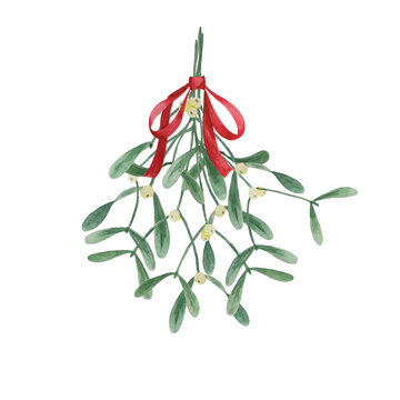 Christmas traditional watercolor hanging mistletoe bouquet with red bow isolated on white background, plant illustration for winter holidays design