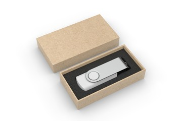 Blank pen drive with paper box packaging for promotional branding. 3d render illustration.
