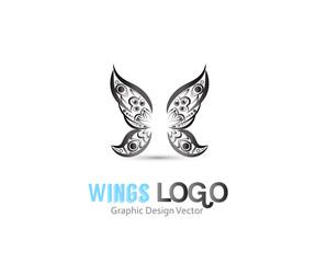 Butterfly tattoo wings mandala art logo vector image design template