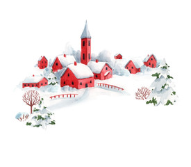 Watercolor winter snowy christmas time red house town landscape scenery fir trees