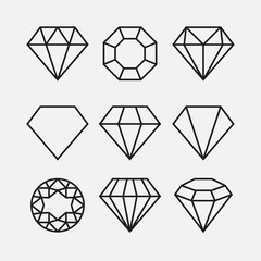 Diamond line gem icon. Vector crystal value outline stone brilliant, luxury flat icon set
