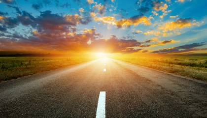 beauty highway empty road with sunset or sunrise Fotomurales