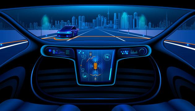 Autopilot smart car scenario background
