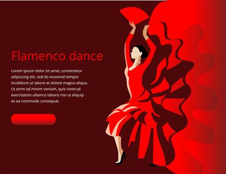 A slender woman with a fan dancing flamenco.