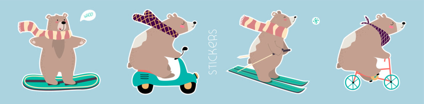 Hand drawn vector set of cute funny bears. Pre-made stickers. Eps 10.