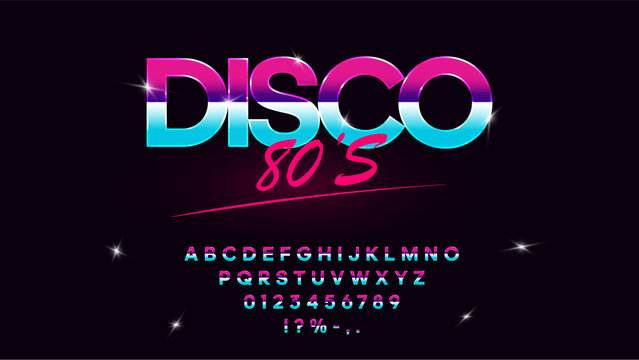 Retrowave synthwave vector font in 1980s style. Retro design letters, numbers, symbols and set of lens flare on dark background. Type for flyer, banner, poster, cover, etc. Eps 10