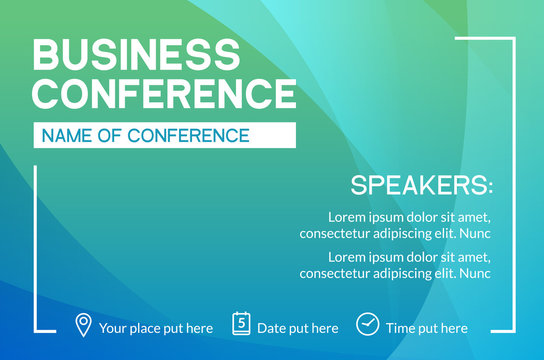 Business conference simple template invitation. Geometric magazine conference or poster business meeting design banner
